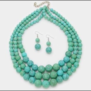 Turquoise necklace and earrings set -New-